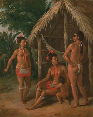 A Leeward Islands Carib Family Outside A Hut  Poster by Agostino Brunias