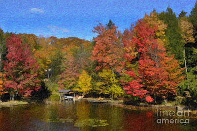 Poster featuring the painting A Little Piece Of Adirondack Heaven by Diane E Berry