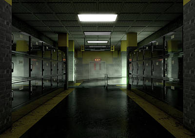A Look Down The Aisle Of Fridges Of A Dimly Lit Ward In A Mortuary With An Empty Gerney In The Dista Poster