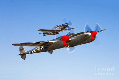 A P-38 Lightning And P-51d Mustang Poster