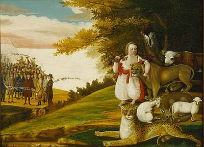 A Peaceable Kingdom With Quakers Bearing Banners Poster