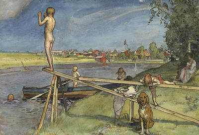 A Pleasant Bathing-place. From A Home Poster by Carl Larsson