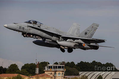 A Spanish Air Force F-18m Hornet Taking Poster