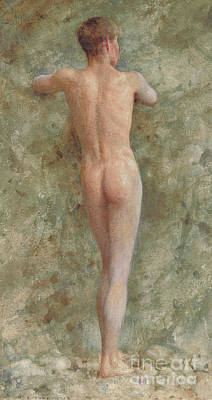 A Standing Male Nude Poster by Henry Scott Tuke