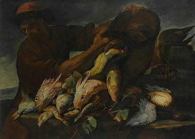 A Still Life Of Salt Water Fish With A Fisherman Poster