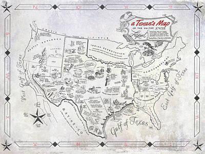 A Texan's Map Poster by Jon Neidert