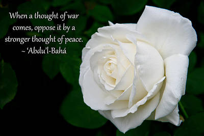 A Thought Of Peace Poster by Baha'i Writings As Art