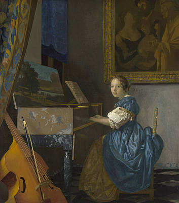 A Young Woman Seated At A Virginal Poster by Johannes Vermeer