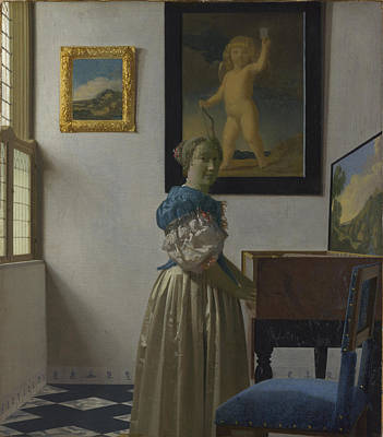 A Young Woman Standing At A Virginal Poster by Celestial Images