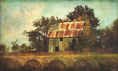 Abandoned Countryside Barn And Hay Rolls Poster