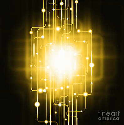 Abstract Circuit Board Lighting Effect  Poster by Setsiri Silapasuwanchai
