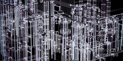 Abstract Industrial And Technology Banner Background Poster by Michal Bednarek
