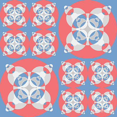 Abstract Mandala White, Pink And Blue Pattern For Home Decoration Poster by Pablo Franchi