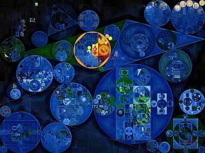 Abstract Painting - Dark Midnight Blue Poster by Vitaliy Gladkiy