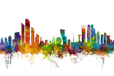 Abu Dhabi Skyline Poster by Michael Tompsett