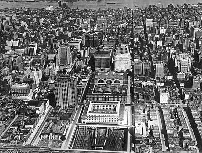 Aerial Of Pennsylvania Station Poster by Underwood Archives