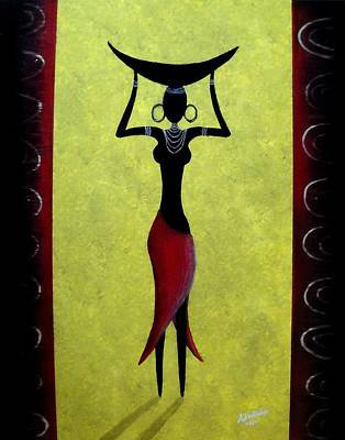 Poster featuring the painting African Beauty by Edwin Alverio