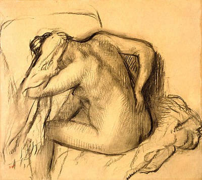 After The Bath Woman Drying Her Hair Poster by Edgar Degas