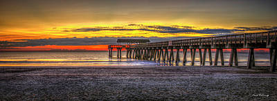 After The Storm Tybee Island Pier Sunrise Art Poster