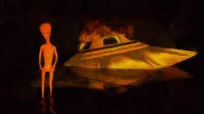Alien Crash Poster by Esoterica Art Agency