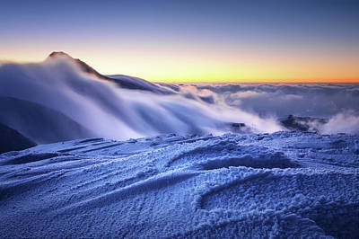 Amazing Foggy Sunset At Mountain Peak In Mala Fatra, Slovakia Poster