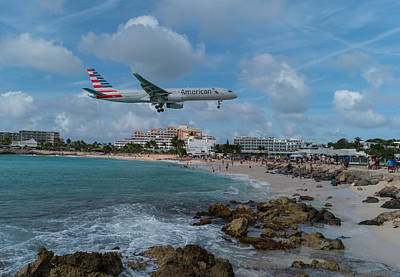 American Airlines Landing At St. Maarten Poster by David Gleeson