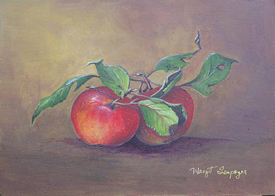 Poster featuring the painting An Apple A Day  by Margit Sampogna