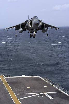 An Av-8b Harrier II Prepares To Land Poster