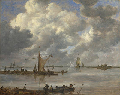 An Estuary With Fishing Boats And Two Frigates Poster