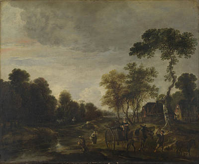 An Evening Landscape With A Horse And Cart By A Stream Poster by Aert van der Neer