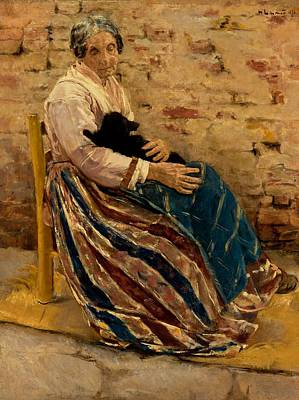 An Old Woman With Cat Poster by Max Liebermann