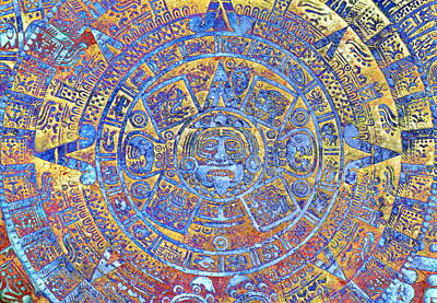 Ancient Mayan Calendar, Abstract Color Background. Poster