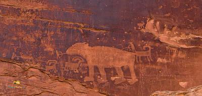 Ancient Native American Petroglyphs On A Canyon Wall Near Moab. Poster