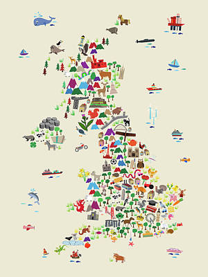 Animal Map Of Great Britain For Children And Kids Poster
