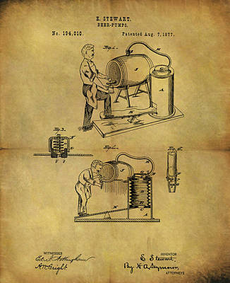 Antique Beer Pump Patent Poster by Dan Sproul