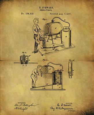 Antique Beer Pump Patent Poster