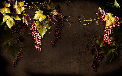 Antique Grapes Poster by Marsha Tudor