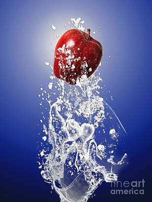 Apple Splash Poster by Marvin Blaine