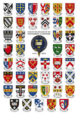 Arms Of The Colleges Of The University Of Oxford Poster