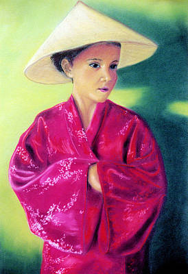 Poster featuring the pastel Asia As Asian by Jan Amiss