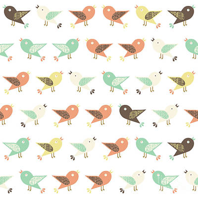 Assorted Birds Pattern Poster