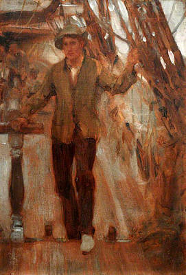 Poster featuring the painting At The Break Of The Poop  by Henry Scott Tuke