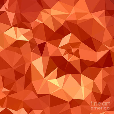 Atomic Tangerine Orange Abstract Low Polygon Background Poster