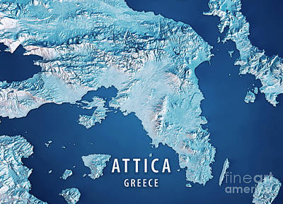 Attica Greece 3d Render Satellite View Topographic Map Blue Poster