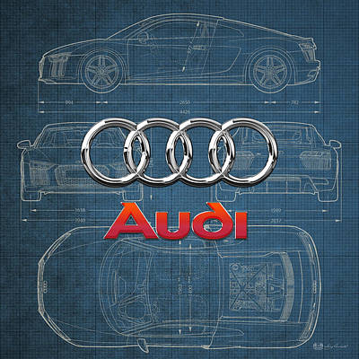 Audi 3 D Badge Over 2016 Audi R 8 Blueprint Poster by Serge Averbukh