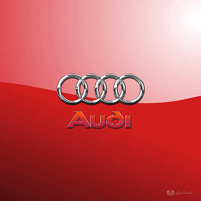 Audi - 3d Badge On Red Poster by Serge Averbukh