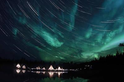 Aurora And Star Trails Poster by Yuichi Takasaka