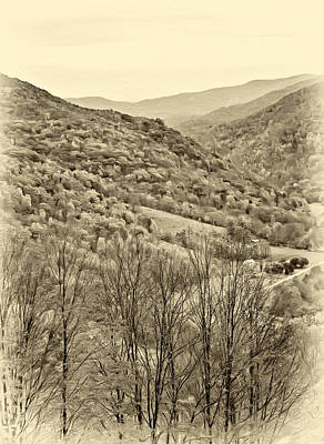 Autumn Valley - Sepia Poster
