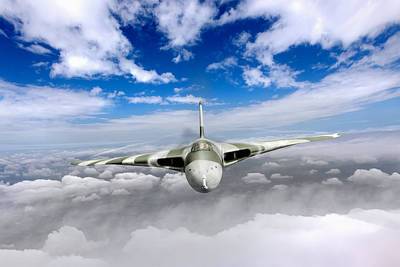 Poster featuring the digital art Avro Vulcan Head On Above Clouds by Gary Eason