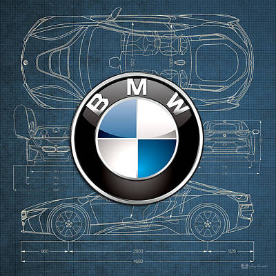 B M W 3 D Badge Over B M W I8 Blueprint  Poster by Serge Averbukh